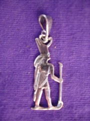 Horus with Crown of Upper and Lower Egypt pendant in silver   from Egypt
